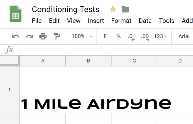 1 mile on the airdyne bike for time. Screenshot of my test tracking sheet.
