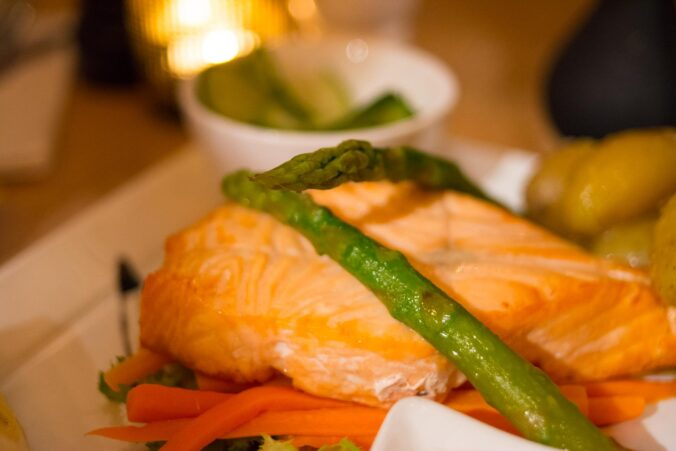 Salmon and asparagus dinner