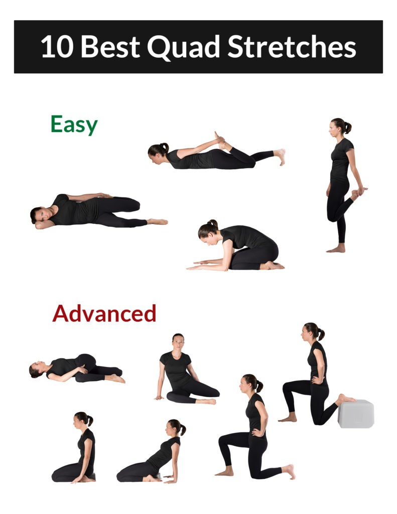 A collection of images showing the 10 best quad stretches, all listed in this article