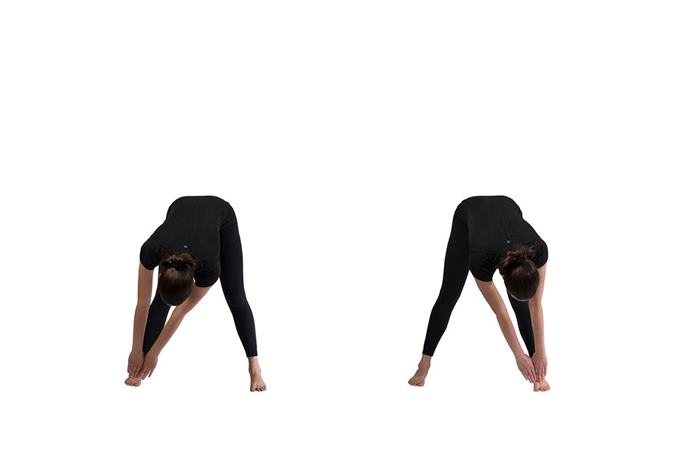 Woman bent over with legs straight using both hands to touch right foot. Second image shows her touching left foot.