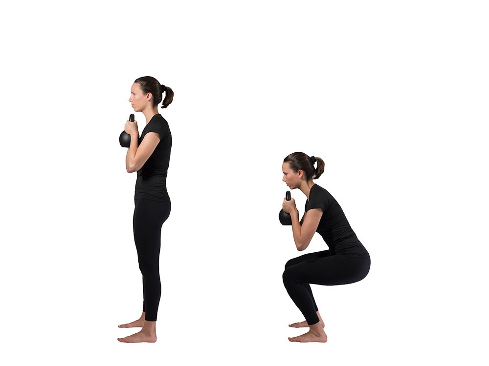 Woman standing and holding a kettlebell in both hands underneath chin. Second image shows woman squatting while still holding kettlebell underneath chin