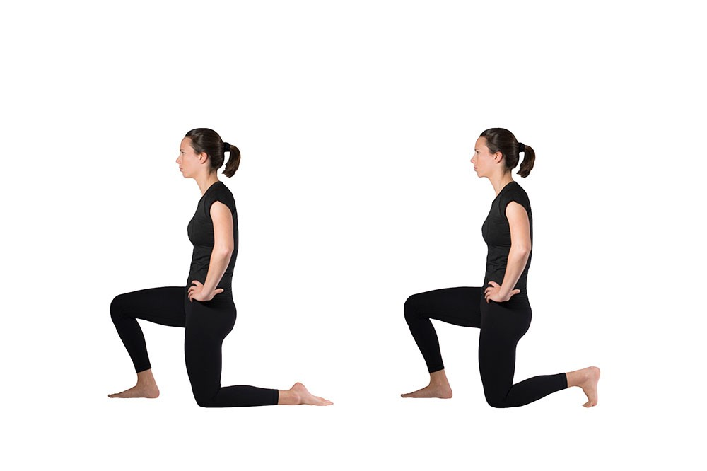 Two pictures of a woman doing quad stretch while kneeling on one knee with hands on hips. One picture shows the top of the back foot flat on the ground. The second picture shows the toes in the ground, increasing the quad stretch.