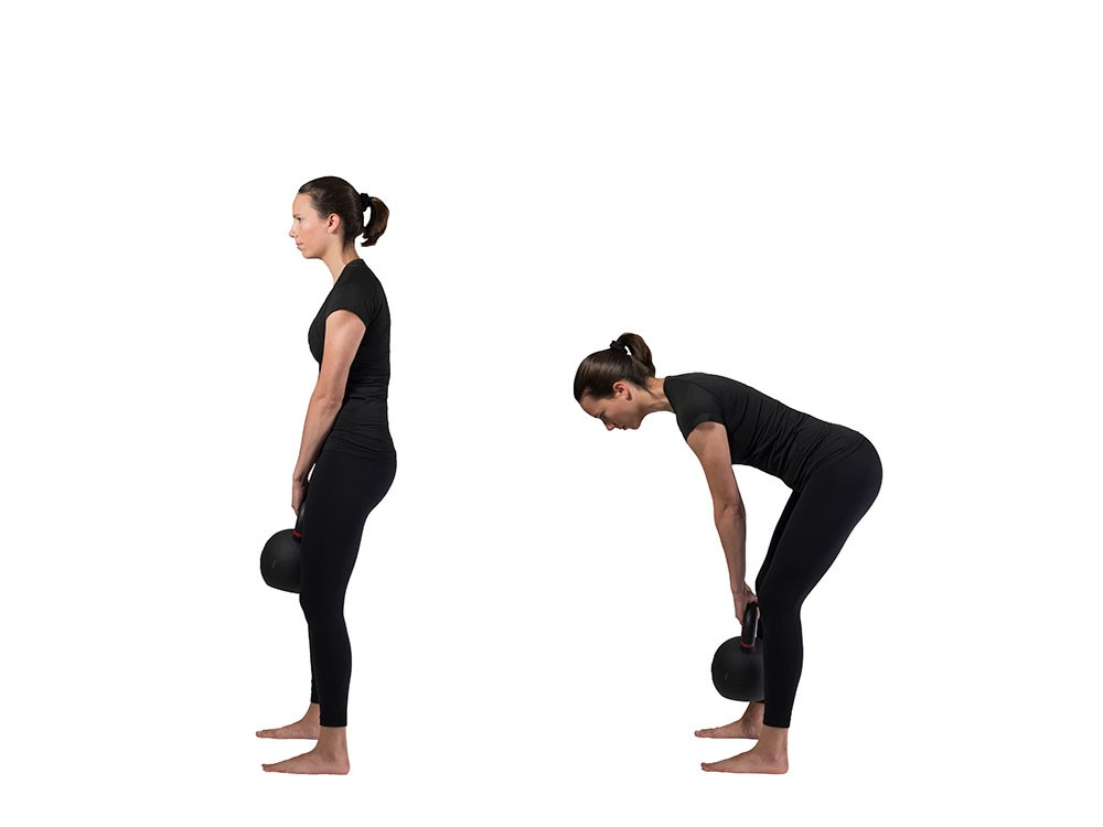 Woman standing with kettlebell in hands hanging straight down between knees, then a second photo of the same woman bending over with a straight back, kettlebell still between knees